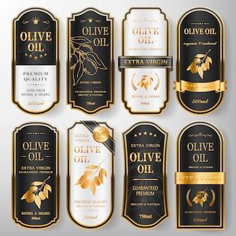Elegante colección de etiquetas de aceite de oliva premium sobre blanco perla