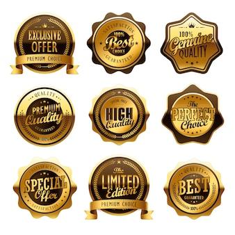 Elegante colección de etiquetas doradas de aniversario en blanco
