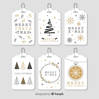 Elegante colección de etiquetas de navidad en forma de árbol