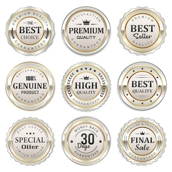 Elegante colección de insignias y etiquetas blancas plateadas