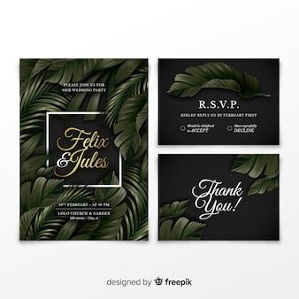 Elegante colección de invitaciones de boda con hojas tropicales.