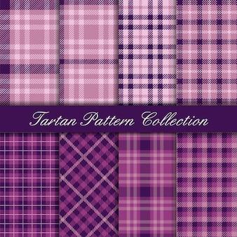 Elegante colección malva y púrpura de patrones sin fisuras de tartán