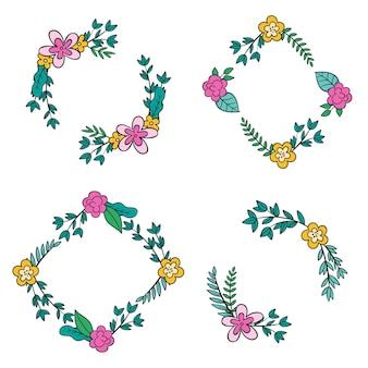 Elegante colección de marcos de adornos florales
