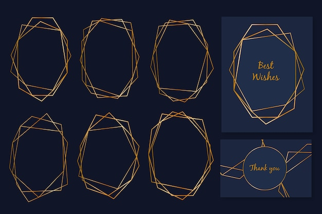 Elegante colección de marcos poligonales dorados
