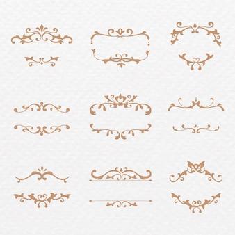 Elegante colección de marcos de vectores de adornos de bronce florecer
