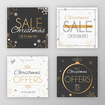 Elegante colección navideña festiva de post social en redes sociales