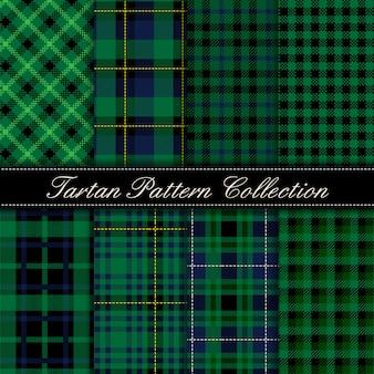 Elegante colección de patrones sin fisuras de tartán verde oscuro