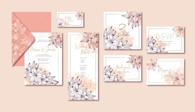 Elegante colección de plantillas de boda