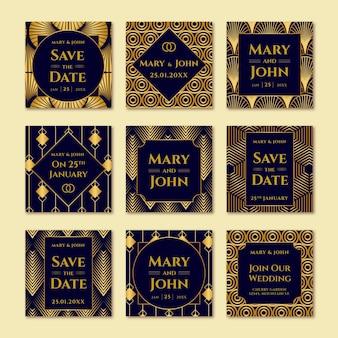 Elegante colección de publicaciones de instagram de bodas
