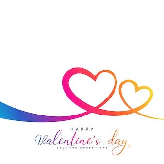 Elegante colorido vibrante dos corazones para el día de san valentín