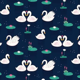 Elegante concepto de colección de patrones de cisne