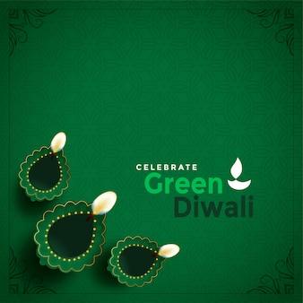 Elegante concepto de diwali verde hermosa ilustración