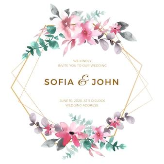 Elegante concepto de marco de boda floral