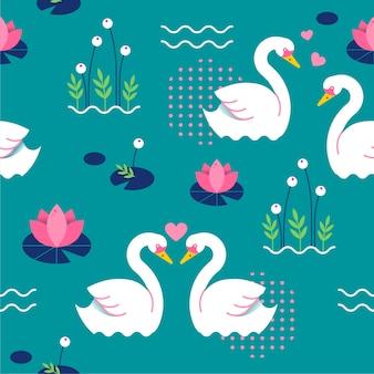 Elegante concepto de patrón de cisne