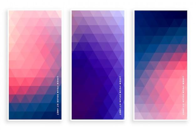 Elegante conjunto de banner de patrón de triángulo de tres