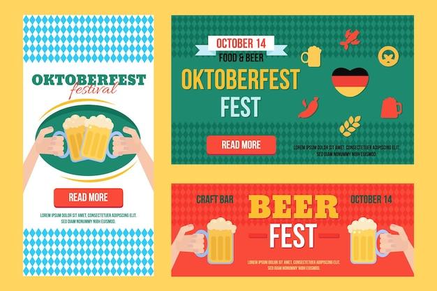 Elegante conjunto de banners de oktoberfest con comida y bebida con títulos y lugares de texto. ilustración vectorial