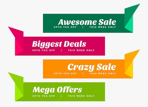 Elegante conjunto de banners de venta en estilo origami.