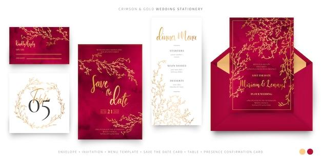 Elegante conjunto de boda carmesí y dorado