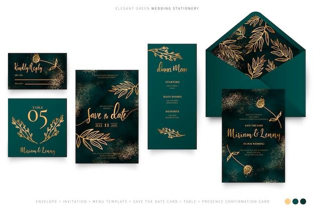 Elegante conjunto de boda verde con hojas doradas