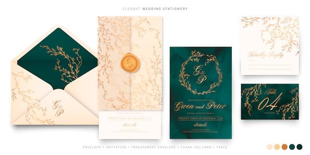 Elegante conjunto de bodas en verde, beige y dorado.