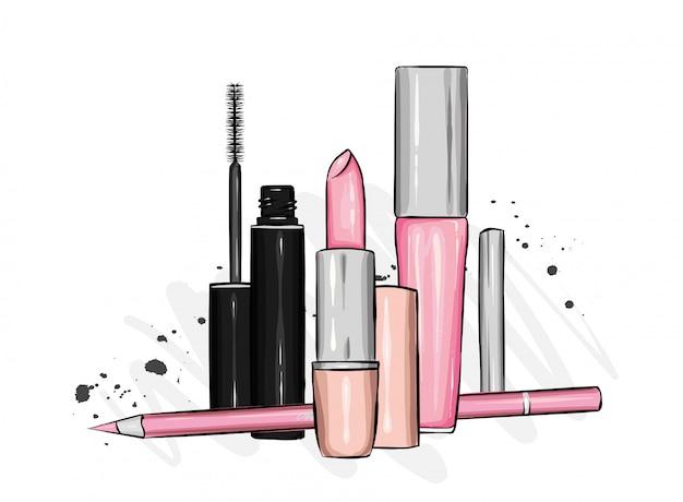 Un elegante conjunto de cosméticos y accesorios. lápiz labial, rímel, sombra de ojos, brillo de labios y lápiz. estilo de moda. ilustración.