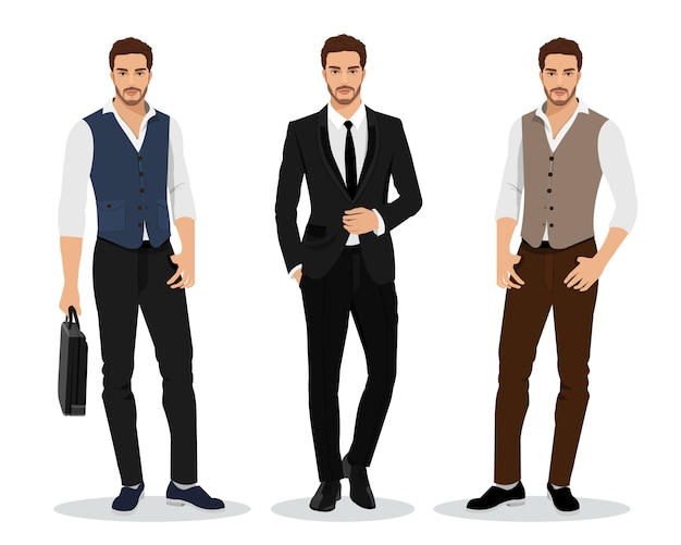 Elegante conjunto de empresarios gráficos altamente detallados. personajes masculinos de dibujos animados.