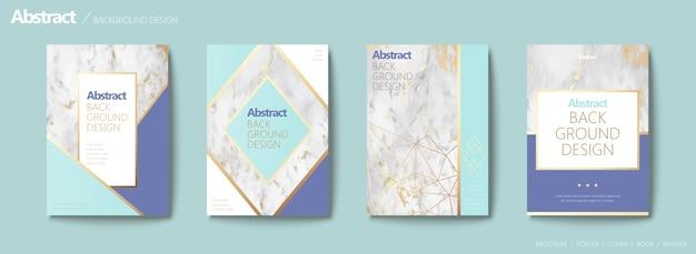 Elegante conjunto de folletos, forma geométrica con línea dorada y textura de piedra de mármol, tono azul agua