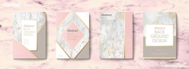 Elegante conjunto de folletos, forma geométrica con línea dorada y textura de piedra de mármol, tono rosa