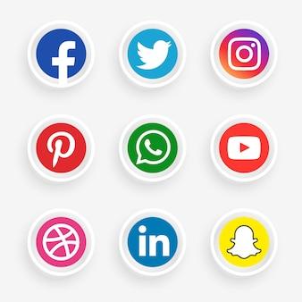 Elegante conjunto de logotipo de redes sociales