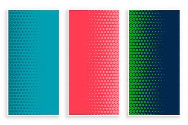 Elegante conjunto de pancartas de medios tonos en tres colores.