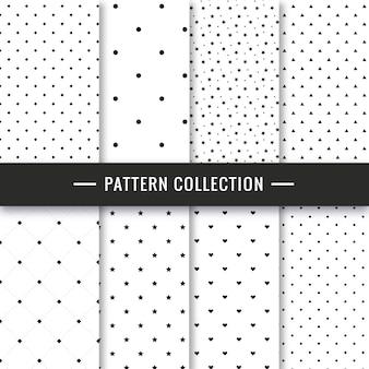 Elegante conjunto de patrones sin fisuras blanco y negro