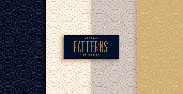Elegante conjunto de patrones de líneas curvas tradicionales chinas