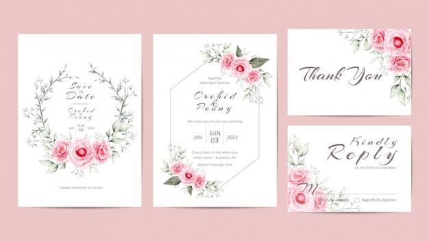 Elegante conjunto de plantillas de invitación de boda floral con flores de peonías