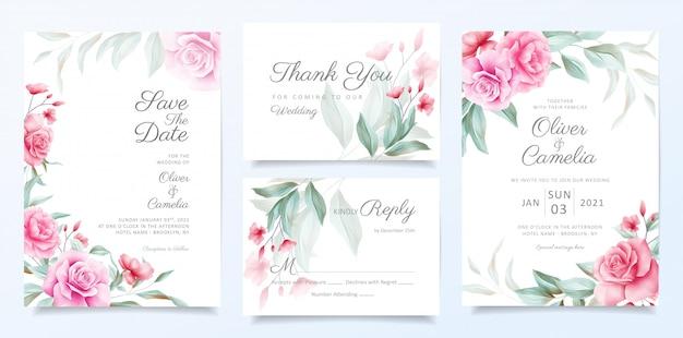 Elegante conjunto de plantillas de tarjeta de invitación de boda de decoración de flores hermosas