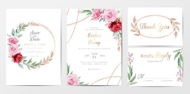 Elegante conjunto de plantillas de tarjetas de invitación de boda de flores doradas