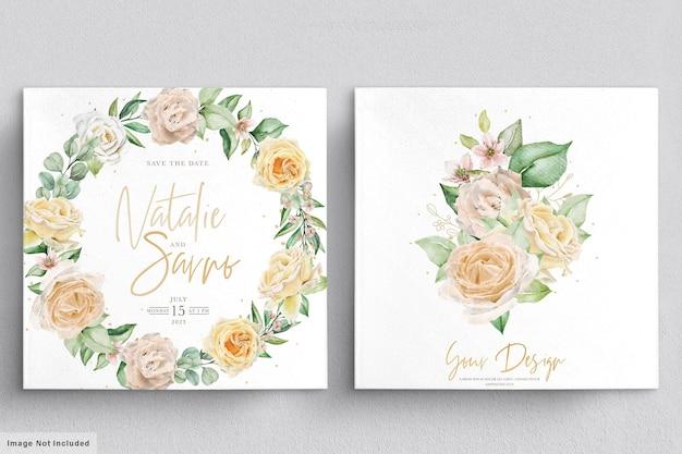 Elegante conjunto de ramos y coronas de flores dibujadas a mano en acuarela