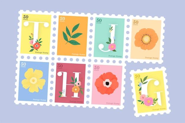 Elegante conjunto de sellos de letras florales