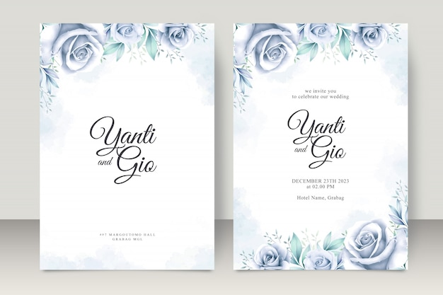 Elegante conjunto de tarjeta de boda con hermosa acuarela floral
