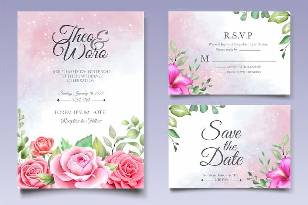 Elegante conjunto de tarjeta de invitación de boda floral acuarela