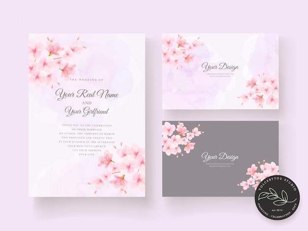 Elegante conjunto de tarjeta de invitación de boda floral