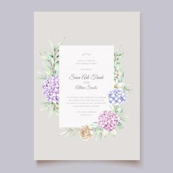 Elegante conjunto de tarjetas de acuarela de hortensias