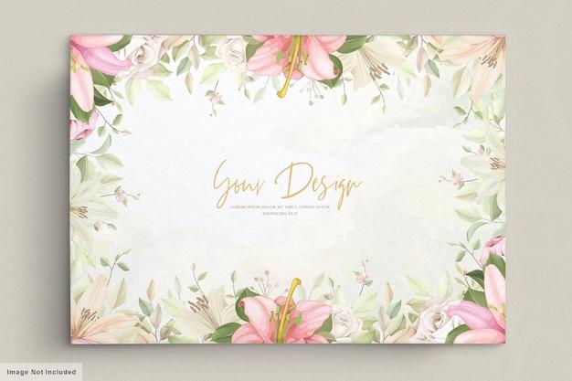 Elegante conjunto de tarjetas de boda de lirio