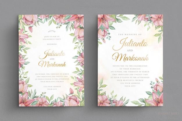 Elegante conjunto de tarjetas de invitación de boda floral acuarela