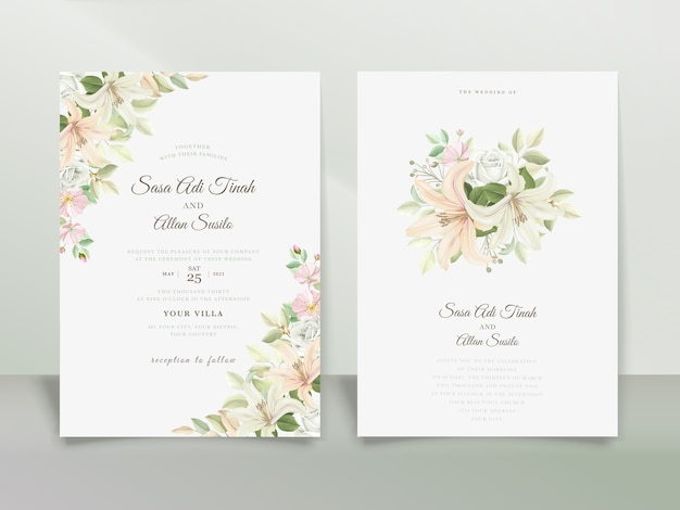 Elegante conjunto de tarjetas de invitación de boda de lirio