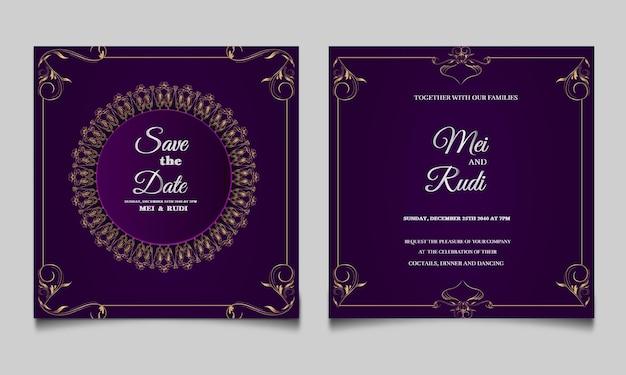 Elegante conjunto de tarjetas de invitación de boda monoline