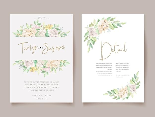 Elegante conjunto de tarjetas de invitación de boda