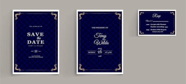 Elegante conjunto de tarjetas de invitación de guardar la fecha