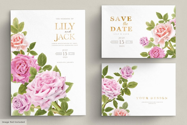 Elegante conjunto de tarjetas de invitación de lirio dibujado a mano