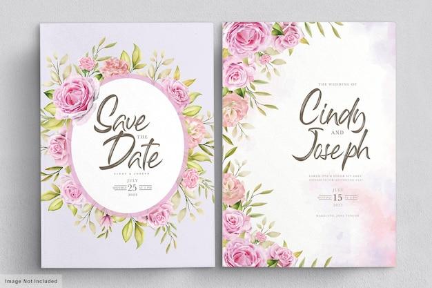 Elegante conjunto de tarjetas de invitación de rosas de acuarela rosa suave