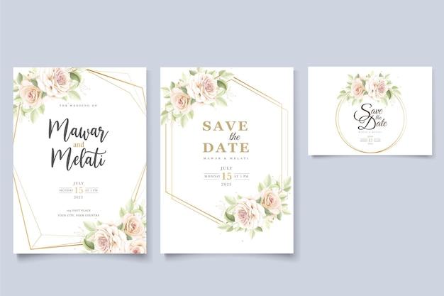 Elegante conjunto de tarjetas de invitación rosas dibujadas a mano vector gratuito